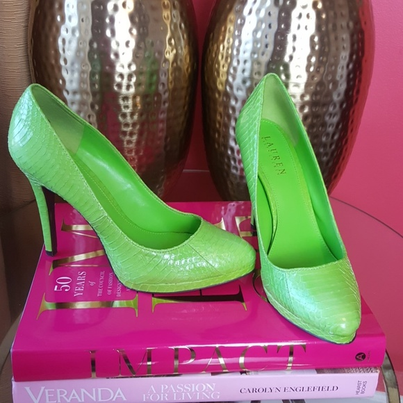 RARE Python Lime Green Ralph Lauren Pumps Sz 10